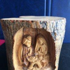 Antigüedades: TRONCO TALLADO CON IMAGEN RELIGIOSA. Lote 180153280