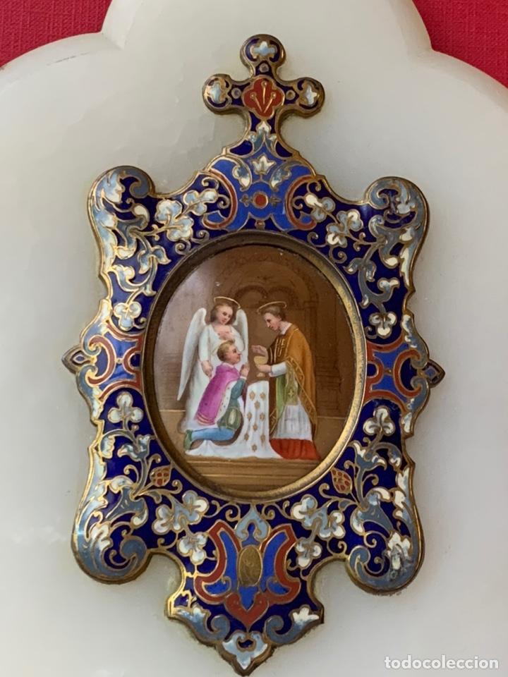 Antigüedades: Magnífica Benditera en Bronce, alabastro, cloisonné y porcelana pintada, principios de s.XX - Foto 3 - 180166785