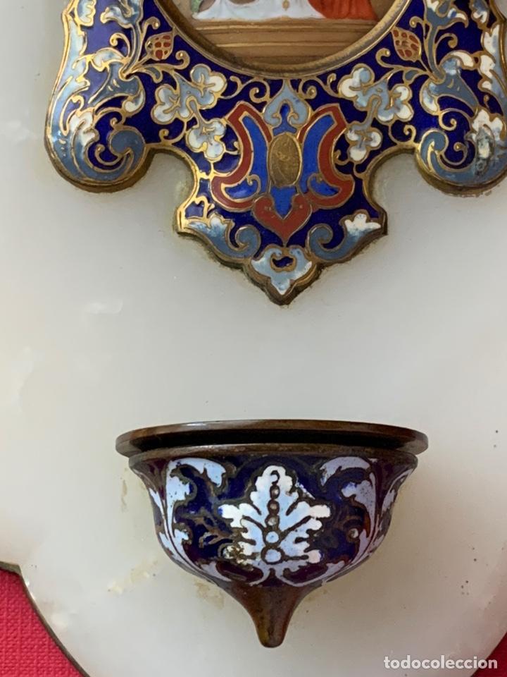 Antigüedades: Magnífica Benditera en Bronce, alabastro, cloisonné y porcelana pintada, principios de s.XX - Foto 4 - 180166785