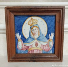 Antigüedades: MUY BONITO AZULEJO RELIGIOSO DEL SAGRADO CORAZON DE MARIA,S. XVIII-XIX. Lote 180169401