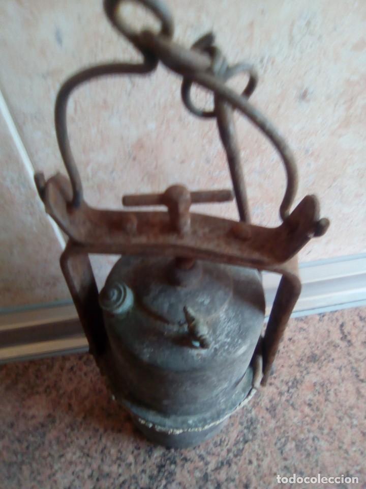 Antigüedades: lampara de carburo siglo xix - Foto 2 - 180170082