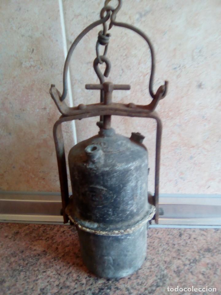 Antigüedades: lampara de carburo siglo xix - Foto 3 - 180170082