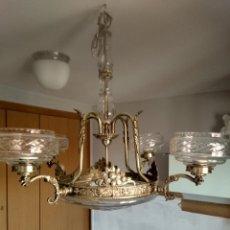 Antigüedades: GRAN LAMPARA MODERNISTA DE BRONCE. Lote 180181467