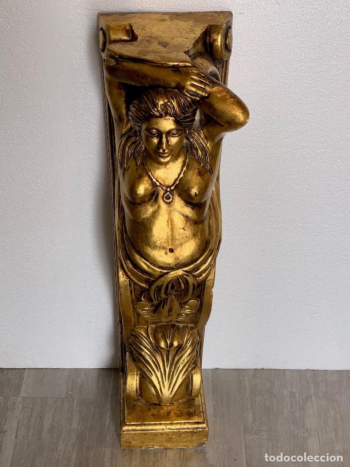 Antigüedades: ANTIGUA COLUMNA ESCAYOLA EN PAN DE ORO - Foto 2 - 180189167