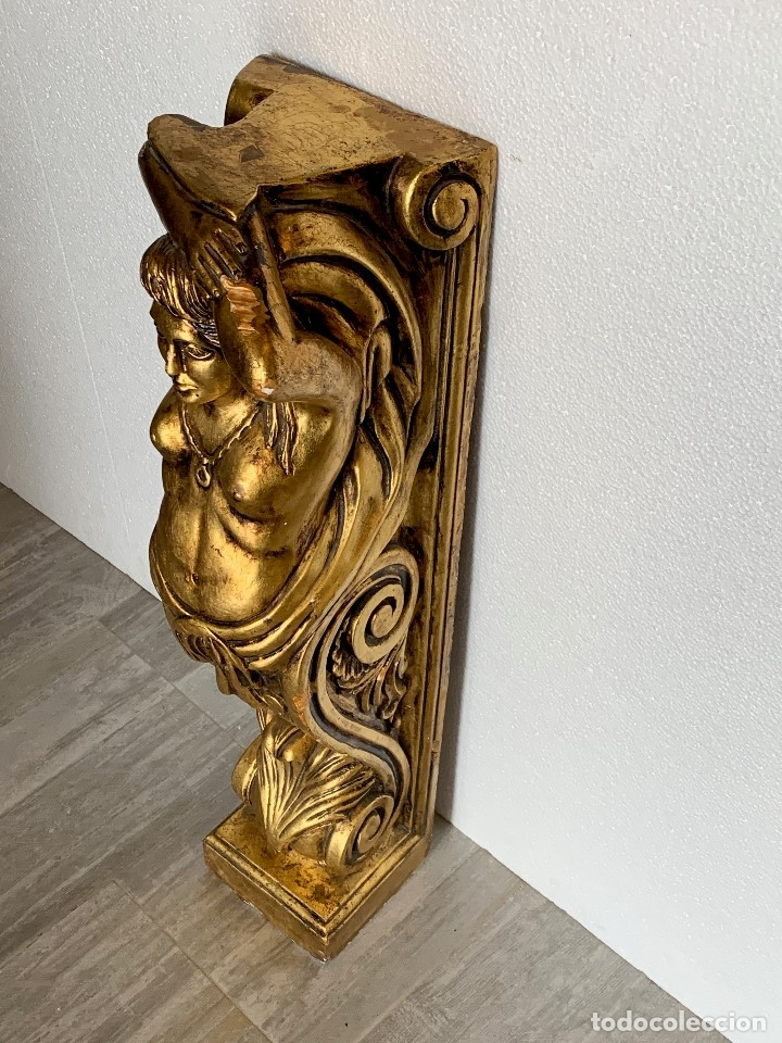 Antigüedades: ANTIGUA COLUMNA ESCAYOLA EN PAN DE ORO - Foto 4 - 180189167