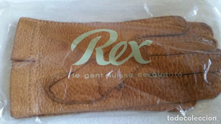 Antigüedades: Magnificas guentas de lujo hechas en piel verdadera, elegantes marca Rex mad suiza Anos 60 - Foto 3 - 180204417
