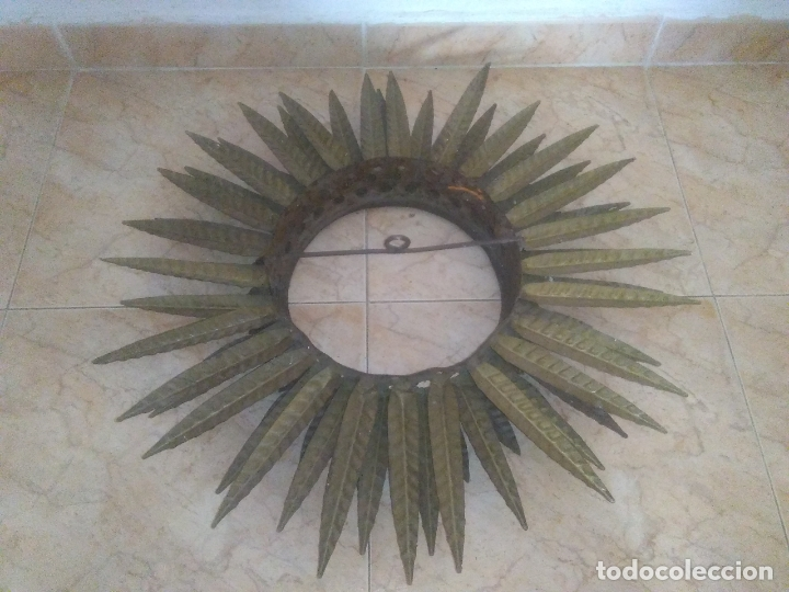 Antigüedades: LAMPARA VINTAGE TRIPLE FORJA DORADA TIPO ESPEJO SOL ORO ANTIGUA - Foto 16 - 180209441