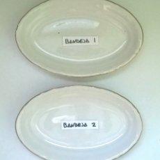 Antigüedades: BANDEJITAS DE PORCELANA BLANCA CON FILO DORADO - PONTESA SPAIN (SELLADAS EN LA BASE). Lote 180212822