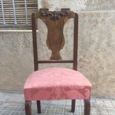 Antigüedades: ANTIGUA SILLA SEÑORIAL DE MADERA CON ASIENTO TAPIZADO. Lote 180213496