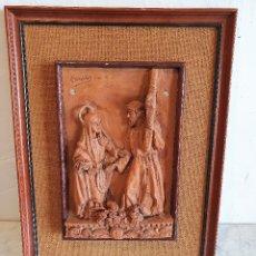 Antigüedades: CUADRO RELIGIOSO EN TERRACOTA, FIRMADO. Lote 180215471