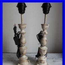Antigüedades: PRECIOSA PAREJA DE LAMPARAS DE MADERA NATURAL EN DECAPE. Lote 180217488