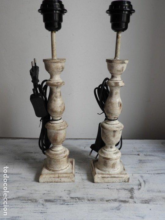 Antigüedades: PRECIOSA PAREJA DE LAMPARAS DE MADERA NATURAL EN DECAPE - Foto 9 - 180217488