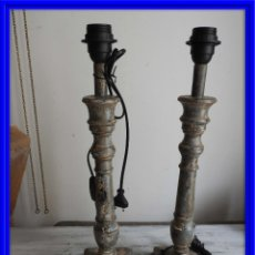 Antigüedades: PAREJA DE LAMPARAS DE MADERA POLICROMADAS **PRECIOSAS**. Lote 180218227