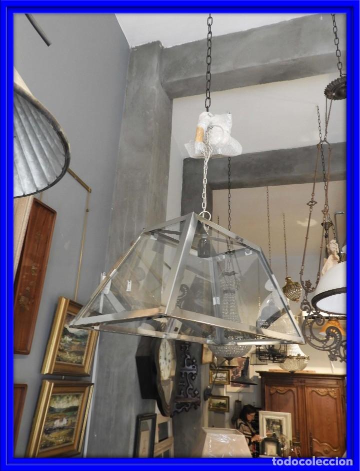 FAROL O LAMPARA DE CRISTAL Y ALUMINIO CON BONITA FORMA DE TRAPECIO (Antigüedades - Iluminación - Faroles Antiguos)