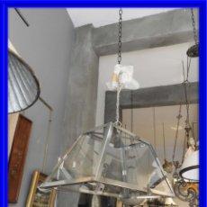 Antigüedades: FAROL O LAMPARA DE CRISTAL Y ALUMINIO CON BONITA FORMA DE TRAPECIO. Lote 180218396