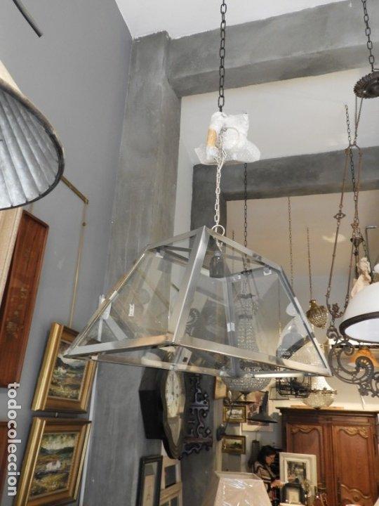 Antigüedades: FAROL O LAMPARA DE CRISTAL Y ALUMINIO CON BONITA FORMA DE TRAPECIO - Foto 2 - 180218396