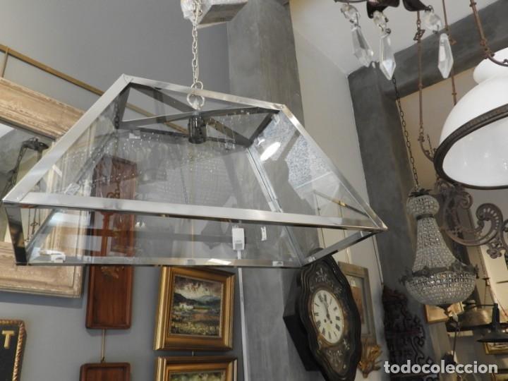 Antigüedades: FAROL O LAMPARA DE CRISTAL Y ALUMINIO CON BONITA FORMA DE TRAPECIO - Foto 3 - 180218396