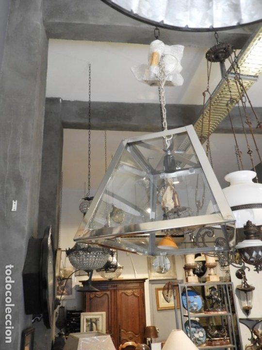 Antigüedades: FAROL O LAMPARA DE CRISTAL Y ALUMINIO CON BONITA FORMA DE TRAPECIO - Foto 4 - 180218396