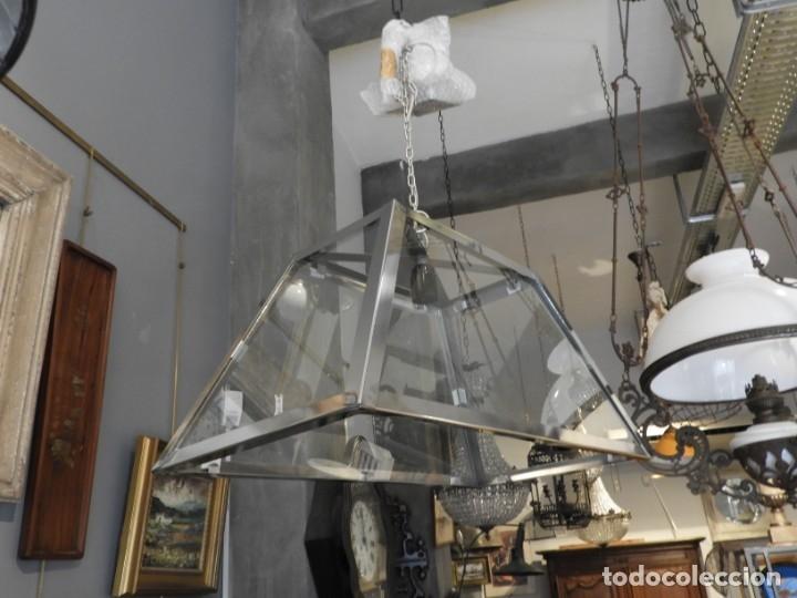 Antigüedades: FAROL O LAMPARA DE CRISTAL Y ALUMINIO CON BONITA FORMA DE TRAPECIO - Foto 5 - 180218396
