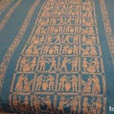 Antigüedades: ANTIGUA Y ORIGINAL COLCHA DISEÑO OFICIOS AZULEJERIA CATALANA. Lote 180231798