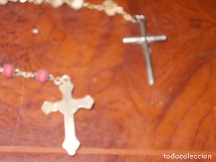 Antigüedades: Dos rosarios 40 y 48 cm. largo, medalla Virgen del Carmen 2,4 cm. diámetro - Foto 9 - 180232401