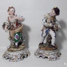 Antigüedades: PAREJA DE FIGURAS EN PORCELANA HISPANIA ORIGINAL 11X19 CMTS. Lote 180236065