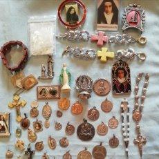 Antigüedades: CONJUNTO DE ARTICULOS RELIGIOSOS CATÓLICOS.. Lote 180257896