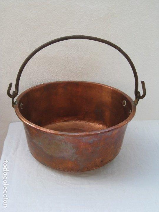 ANTIGUA CALDERA DE COBRE 35 CM DE BOCA. (Antigüedades - Técnicas - Rústicas - Utensilios del Hogar)