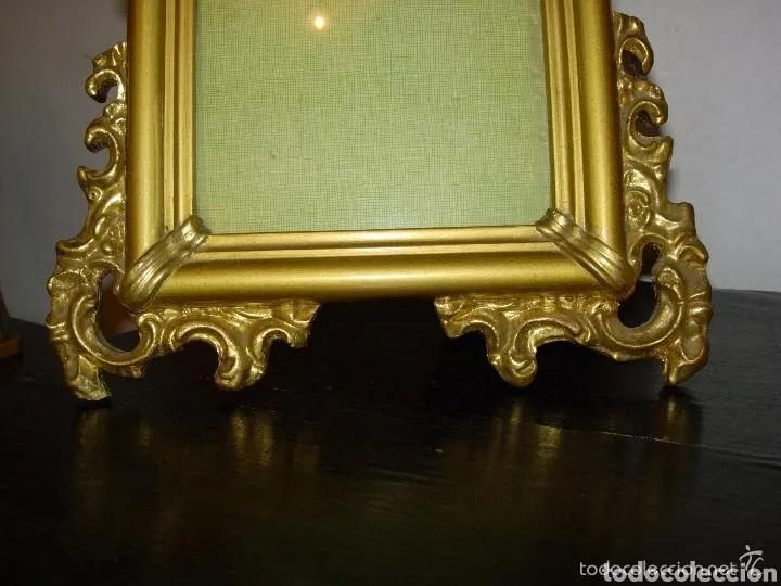 Antigüedades: 2 portafotos, madera y oro - Foto 4 - 180265190
