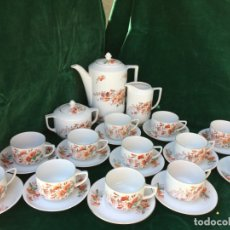 Antigüedades: JUEGO ANTIGUO DE CAFE EN PORCELANA SELLADO CCA 1900. Lote 180265260