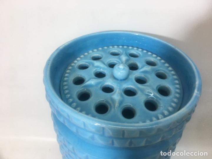 Antigüedades: Recipiente florero cerámica Manises - Foto 2 - 180267220