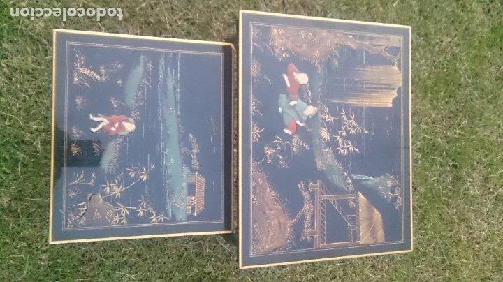 2 MESAS NIDO CHINAS AUXILIARES ORIENTALES LACADAS Y DECORACIÓN EN RELIEVE AÑOS 60 (Antigüedades - Muebles Antiguos - Mesas Antiguas)