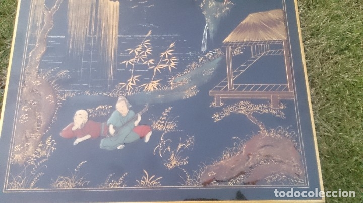 Antigüedades: 2 mesas nido chinas auxiliares orientales lacadas y decoración en relieve años 60 - Foto 12 - 180270337