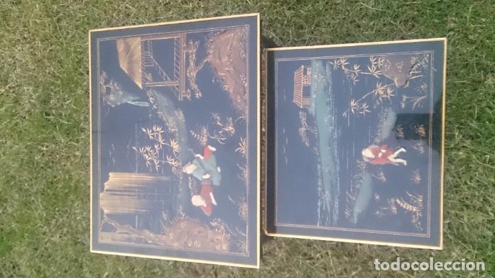 Antigüedades: 2 mesas nido chinas auxiliares orientales lacadas y decoración en relieve años 60 - Foto 13 - 180270337