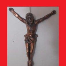 Antigüedades: PRECIOSO CRISTO CRUCIFICADO EN METAL COBREADO CON GRAN DIMENSIÓN (TODOCOLECCION3-1). Lote 180272407
