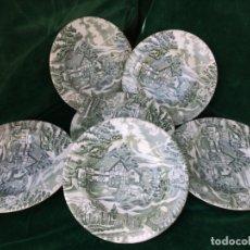 Antigüedades: JUEGO ANTIGUO DE 6 PLATOS HONDOS SEMIPORCELANA SELLADOS. Lote 180272888