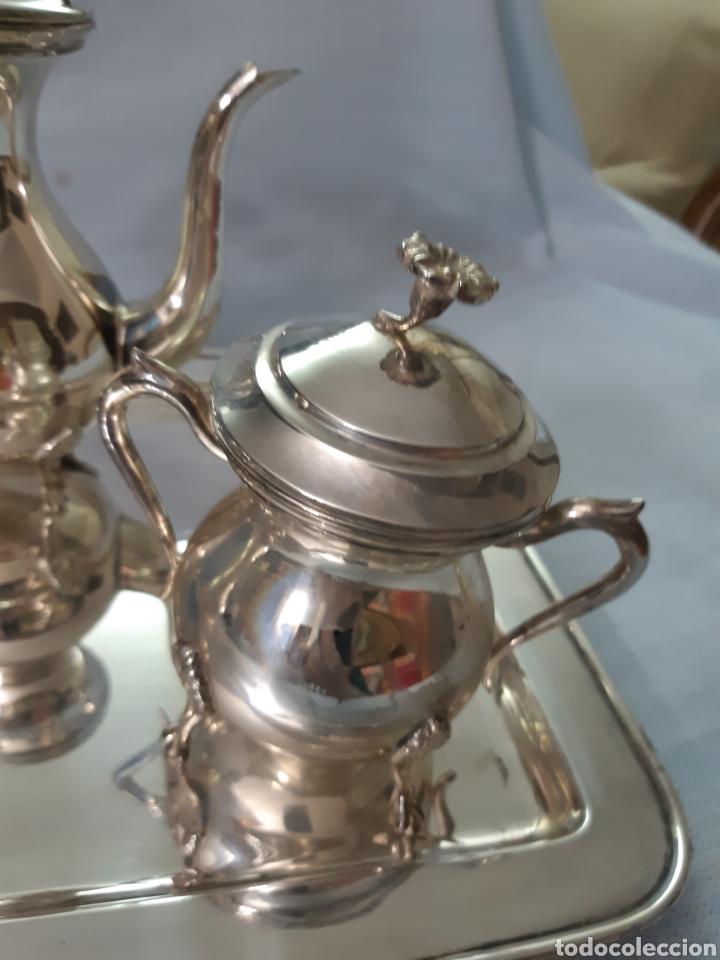 Antigüedades: JUEGO CAFE METAL PLATEADO - Foto 2 - 180279471
