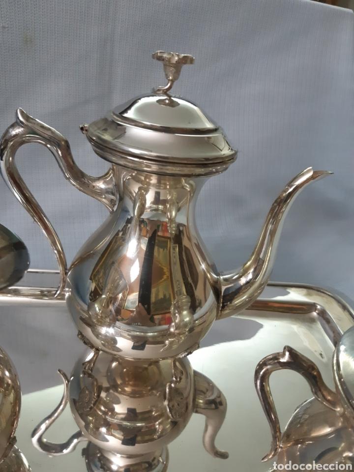 Antigüedades: JUEGO CAFE METAL PLATEADO - Foto 3 - 180279471