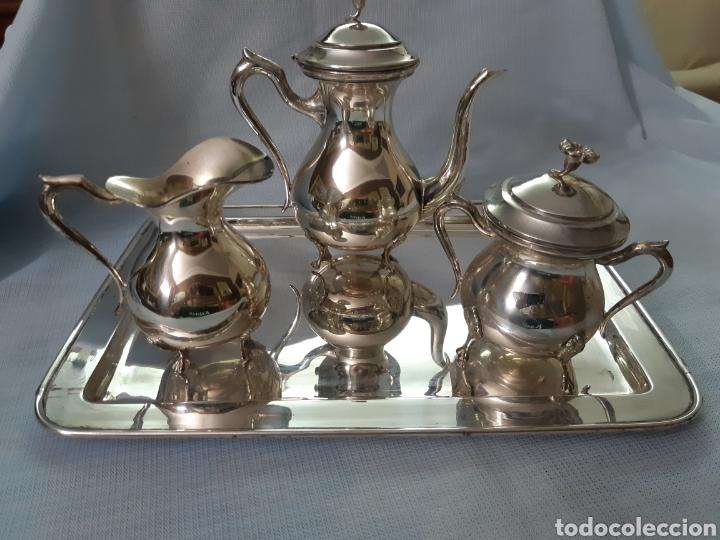 JUEGO CAFE METAL PLATEADO (Antigüedades - Platería - Bañado en Plata Antiguo)