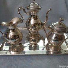 Antigüedades: JUEGO CAFE METAL PLATEADO. Lote 180279471