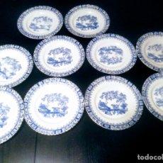 Antigüedades: LOTE 10 PLATOS SANTA CLARA CHINA BLUE. Lote 180290842