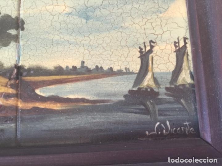 Antigüedades: Antigua Pintura al Óleo Sobre Azulejos. Paisaje firmado J. Vicente - Foto 2 - 180323628