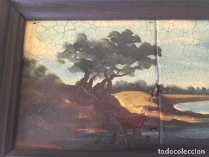 Antigüedades: Antigua Pintura al Óleo Sobre Azulejos. Paisaje firmado J. Vicente - Foto 3 - 180323628
