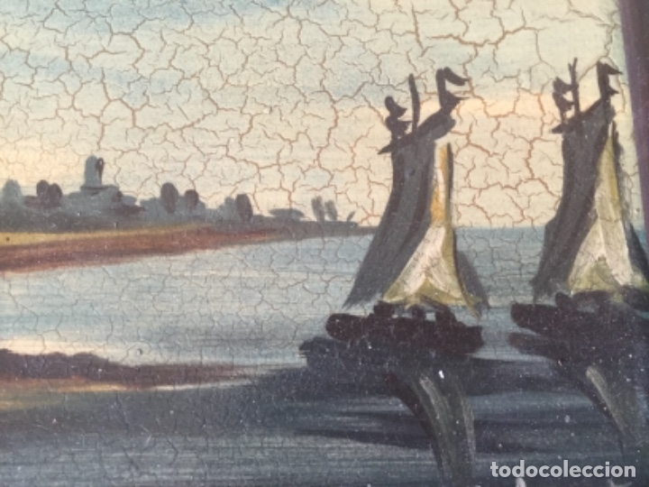 Antigüedades: Antigua Pintura al Óleo Sobre Azulejos. Paisaje firmado J. Vicente - Foto 4 - 180323628