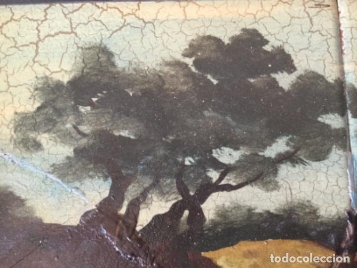 Antigüedades: Antigua Pintura al Óleo Sobre Azulejos. Paisaje firmado J. Vicente - Foto 6 - 180323628
