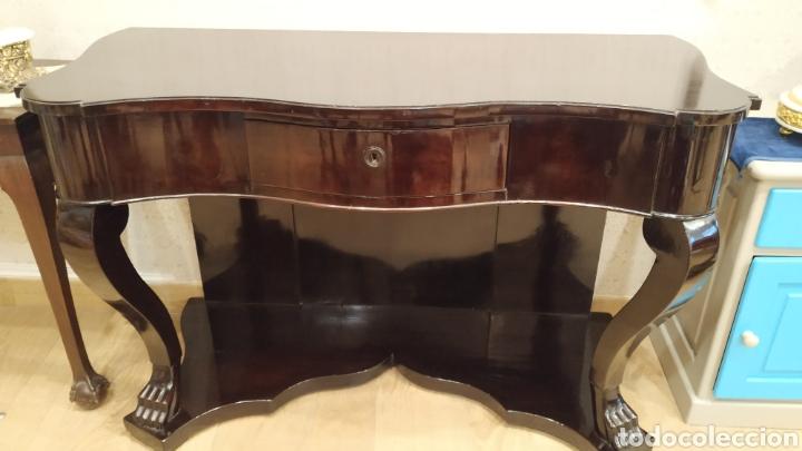 Antigüedades: Consola antigua restaurada. Mueble consola caoba. Mueble antiguo restaurado. - Foto 3 - 180331135
