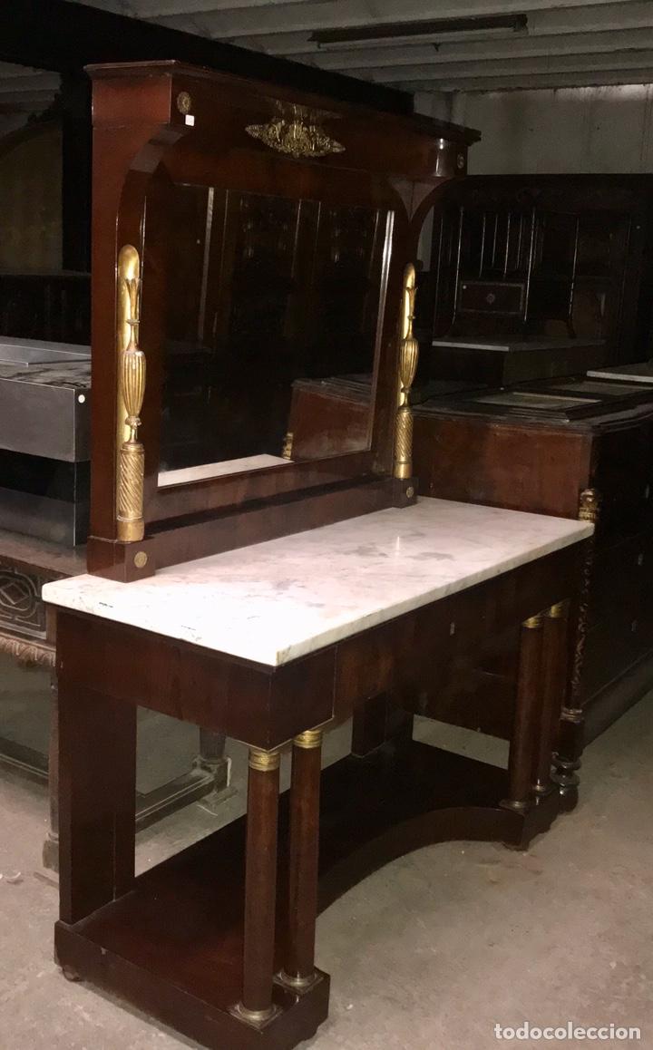 CONSOLA IMPERIO DE CAOBA.SIGLO XIX (Antigüedades - Muebles Antiguos - Consolas Antiguas)