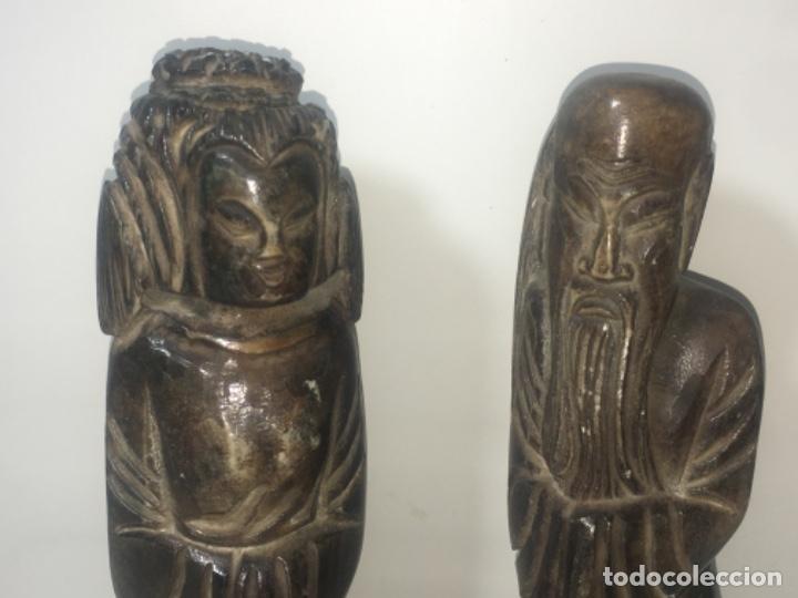 Antigüedades: Pareja figura figuras alabastro Todas las medidas fotografiadas - Foto 2 - 180348836