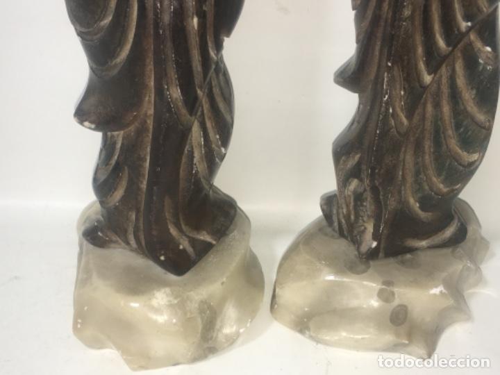 Antigüedades: Pareja figura figuras alabastro Todas las medidas fotografiadas - Foto 3 - 180348836