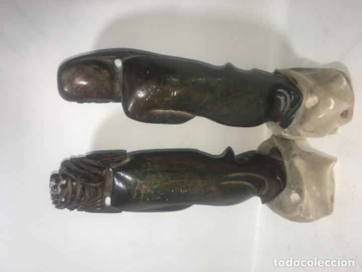 Antigüedades: Pareja figura figuras alabastro Todas las medidas fotografiadas - Foto 4 - 180348836